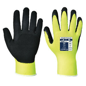 Portwest A340 Pack Hi vis Breathable Grip Gloves In Latex Foam With Liners Ansi
