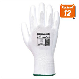 Portwest A120 Pack Handling Work Safety Glove With Protective Pu Palm Grip White