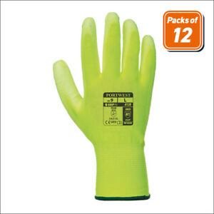 Portwest A120 Pack Handling Work Safety Glove Protective Pu Palm Grip Yellow