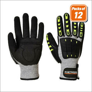Portwest A722 Packs Of Anti Cut And Impact Resistant Thermal Gloves Ansi A4 Cut