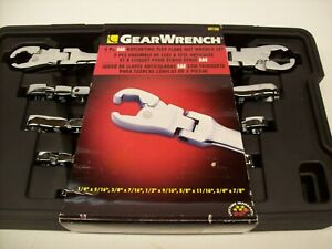 Gearwrench 89100 Sae Ratcheting Flex Flare Nut Wrench Set 5 Pc