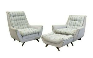 Pair Of Mid Century Modern Kroehler Pearsall Style Lounge Chairs Ottoman