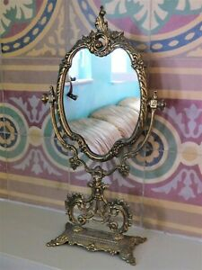 Antique Vintage Brass Table Mirror Vanity Oval Mirror With Base 18