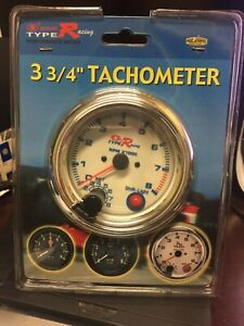 Chrome Auto Gage 0 8 000 Rpm 3 3 4 Pedestal Tachometer With Shift Light Type R