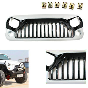 White Front Gladiator Vader Grille Grill For 2011 2017 Year Jeep Wrangler Jk Abs