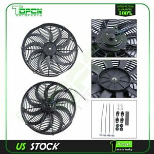 12v Mount Kit 16 Inch Slim Electric Radiator Cooling Fan Fits 10 15 Kia Soul