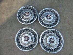 4 Oem Cadillac 88 92 Wire Wheel Hubcaps 15 Rear Wheel Drive Only Free Shipping