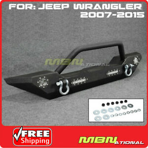 Steel Metal Front Bumper Armor Built In Led Light For Jeep Jk 07 15 Wrangler