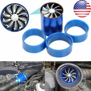 Double Air Intake Turbine Turbo Supercharger Gas Fuel Saver Fan Charger Us Stock