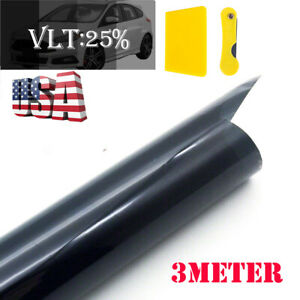 Black 25 Car Home Window Tint Film Roll House Glass Cover Tinting 50cm X3m Us