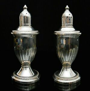 Early 20th C Vint Col Rev Sterling Silver 925 Weighted Pair Salt Pepper Shakers