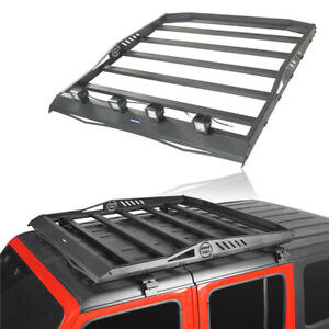 Roof Rack Cargo Luggage Carrier W Led Spot Light For Jeep Wrangler Jl 18 20 4dr