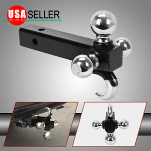 Triple Tri Ball With Hook Trailer Hitch 2 Receiver Mount 7 8 2 2 5 16 Tow
