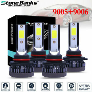 4 Bulbs 9005 9006 240w 52000lm Combo Led Headlight High Low Beam 6000k White Kit