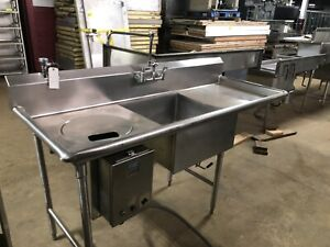 76 Stainless Steel One 1 Bowl Prep Sink 2 Drain Boards Vegetable W Disposal Hole