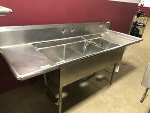 96 Stainless Steel 3 Compartment Commercial Wash Sink Processing Disposal Hole
