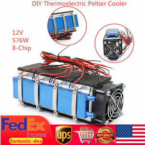 576w Diy Thermoelectric Peltier Refrigeration Cooler Cooling 8 chip Tec1 12706a
