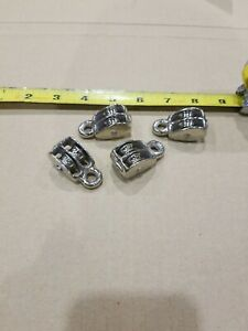 4pc 1 2 Double Wheel Sheave Die cast Chrome Pulley Rope Wire Hoist