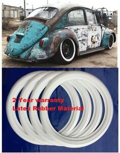 R 15 Tire Wheel Trim Latex Rubber Material 2 Whitewall 4pc Vw Beetle Hot Rod