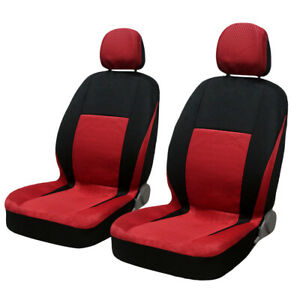 8pcs Spot Pattern Fabric Cloth Red Automobile Car Headrest Seat Covers Full Set