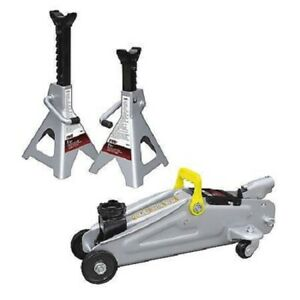 Teq Correct Tq925 2ton Trolley Jack With 2ton Jack Stands Combination