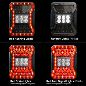 2pcs Led Tail Lights Break Reverse Turn Signal For 07 18 Jeep Wrangler Jk Jku