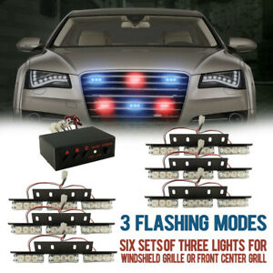 New 54 Red Blue Led Emergency Warning Strobe Lights Bars Deck Dash Grill