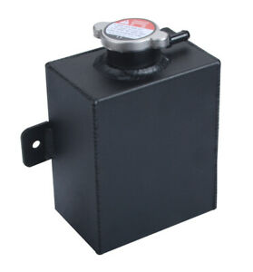 Universal Aluminum Coolant Radiator Overflow Tank Expansion Water Bottle Black
