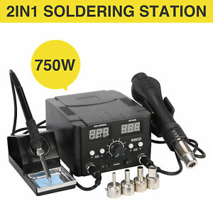 2 In 1 Digital Soldering Station Smd Rework Hot Air Gun Welder Dc Power Supply