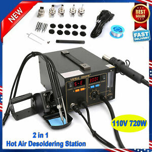 110v 720w 2 In1 Lcd Electric Hot Air Heat Gun Soldering Station Desoldering Tool