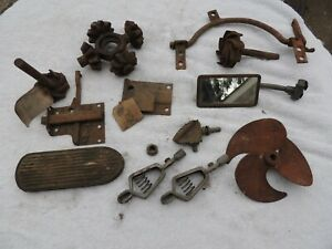 Lot Of Old Vintage Car Parts Gears Starter Pedal Mirror Latch Pedal Champs
