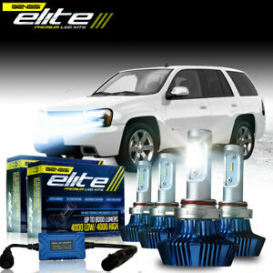 Led Headlight Bulb Kit Low High Conversion For Chevy Trailblazer 2002 To 2009