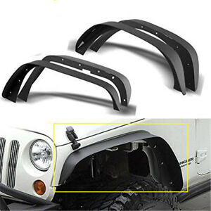 4x Flat Style Front Rear Fender Flares Black Metal For Jeep Wrangler Jk 07 18