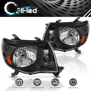For 05 11 Toyota Tacoma Black Housing Headlights Head Lamp Pair L R 2005 2011