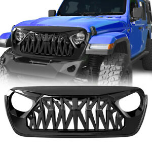Front Bumper Grill Shark Grille Guard For 18 19 Jeep Wrangler Jl Glossy Black