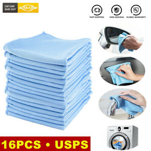 16pcs Microfiber Glass Cleaning Cloth Dish Car Windshield Window Drying Towel Us
