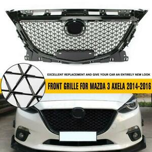 For Mazda 3 Axela 2014 2016 Abs Plastic Black Front Bumper Grill Upper Grille