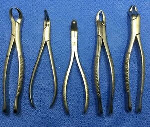 Lot Of 5 Diff Hu friedy Dental Tools instruments Extracting Forceps Kp