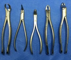 Lot Of 5 Diff Hu friedy Dental Tools instruments Extracting Forceps W kp