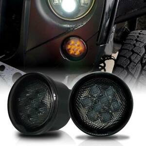 Smoke Lens White Led Drl Light Amber Turn Signal Lamps For Jeep Wrangler Jk Jku