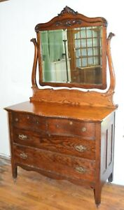 Gorgeous C 1800 S Antique Serpentine Solid Tiger Oak Swing Mirror Dresser Chest