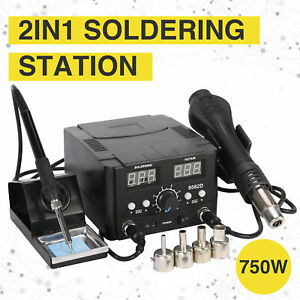 2 In1 Soldering Iron Hot Air Gun Desoldering Rework Station Smd Digital Solder