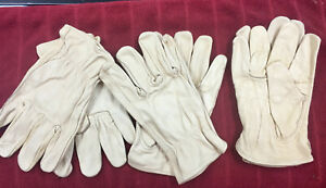 3 Three Pair New Wells Lamont Y0153 Driver Grips Cowhide Leather Gloves Size9 l