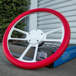 14 White Steering Wheel With Red Wrap And Horn Button For Chevy Gm C10 Ford
