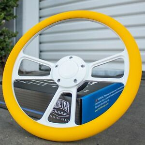 14 White Steering Wheel With Yellow Wrap And Horn Button For Chevy Gm C10 Ford