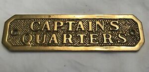 Solid Brass Natucal Ship Naval Door Plaque Captains Quarters Estate Sale Find