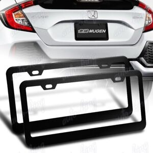 2 X Black Aluminum Alloy Car License Plate Frame Cover Front Or Rear Us Size