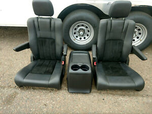 Black Leather 2 Bucket Seats And Console Jeep Hotrod Bus Van Boat Truck Humvee