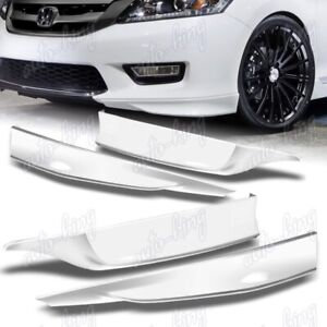 For 2013 2015 Honda Accord 4dr Hfp Painted White Front Rear Bumper Spoiler Lip