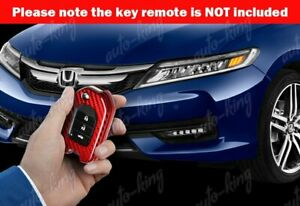 Real Red Carbon Fiber Remote Key Shell Cover Case For Honda Accord civic odyssey